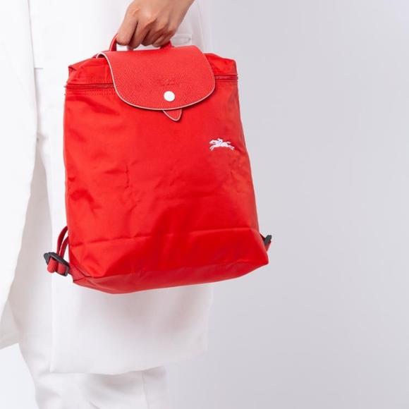 LONGCHAMP Le Pliage Club Vermilion Nylon Backpack
